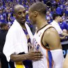 Oklahoma City\'s Russell Westbrook (0) and Los Angeles\' Kobe Bryant (24) talks following during Game 5 in the second round of the NBA playoffs between the Oklahoma City Thunder and the L.A. Lakers at Chesapeake Energy Arena in Oklahoma City, Monday, May 21, 2012. Photo by Sarah Phipps, The Oklahoman