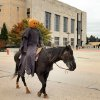 THE HEADLESS HORSEMAN - The headless horseman rides past the Civic Center Music Hall Oklahoma City Friday morning, October 23, 2009. The ride was to promote the Oklahoma City Ballet\'s production of