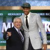 NBA Commissioner David Stern, left, stands with Giannis Antetokounmpo, of Greece, who was selected by the Milwaukee Bucks in the first round of the NBA basketball draft, Thursday, June 27, 2013, in New York. (AP Photo/Kathy Willens)