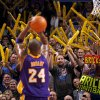 Fans scream as Los Angeles\' Kobe Bryant (24) shoots a free throw during an NBA basketball game between the Oklahoma City Thunder and the Los Angeles Lakers at Chesapeake Energy Arena in Oklahoma City, Thursday, Feb. 23, 2012. Oklahoma City won 100-85. Photo by Bryan Terry, The Oklahoman