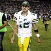 Photo -   Green Bay Packers quarterback Aaron Rodgers walks off the field after the Seattle Seahawks defeated the Packers 14-12 in an NFL football game, Monday, Sept. 24, 2012, in Seattle. (AP Photo/Ted S. Warren)