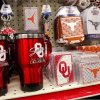 Items with the University of Oklahoma logo sit next to items bearing the Longhorn emblem from the University of Texas at Love\'s Travel Plaza on I-35 in Pauls Valley Tuesday, Dec. 20, 2011. Photo by Jim Beckel