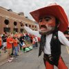 OSU mascot Pistol Pete gets fans ready for the Spirit Walk before the college football game between the Oklahoma State Cowboys (OSU) and the Nebraska Huskers (NU) at Boone Pickens Stadium in Stillwater, Okla., Saturday, Oct. 23, 2010. Photo by Nate Billings, The Oklahoman