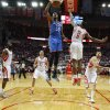 Oklahoma City\'s Kevin Durant (35) dunks the ball beside Houston\'s Terrence Jones (6) as James Harden (13), Francisco Garcia (32), and Carlos Delfino (10) watch during Game 3 in the first round of the NBA playoffs between the Oklahoma City Thunder and the Houston Rockets at the Toyota Center in Houston, Texas, Sat., April 27, 2013. Oklahoma City won 104-101. Photo by Bryan Terry, The Oklahoman