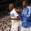 Oklahoma City\'s Kevin Durant (35) and Serge Ibaka (9) celebrate during game five of the Western Conference semifinals between the Memphis Grizzlies and the Oklahoma City Thunder in the NBA basketball playoffs at Oklahoma City Arena in Oklahoma City, Wednesday, May 11, 2011. Photo by Sarah Phipps, The Oklahoman