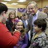 Missouri Republican Senate candidate, Rep. Todd Akin, R-Mo., right, visits with supporters during a stop to a Republican campaign office Monday, Nov. 5, 2012, in Florissant, Mo. Akin is running against incumbent Sen. Claire McCaskill, D-Mo. (AP Photo/Jeff Roberson)