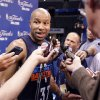 Oklahoma City\'s Derek Fisher talks to the media during the NBA Finals practice day at the Chesapeake Energy Arena on Monday, June 11, 2012, in Oklahoma City, Okla. Photo by Chris Landsberger, The Oklahoman