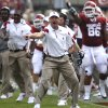 Bob Stoops points out a penalty to the official by Florida State during the first half of the college football game between the University of Oklahoma Sooners (OU) and the Florida State University Seminoles (FSU) on Sat., Sept. 11, 2010, in Norman, Okla. Photo by Chris Landsberger, The Oklahoman