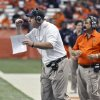 Photo -   Syracuse coach Doug Marrone pumps his fist to his players during the third quarter of an NCAA college football game against Connecticut in Syracuse, N.Y., Friday, Oct. 19, 2012. Syracuse won 40-10. (AP Photo/Kevin Rivoli)