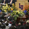 The casket of Dr. Ernest L. Holloway 14th pres. of Langston University