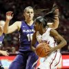 Oklahoma\'s Aaryn Ellenberg (3) drives against Leticia Romero (10) in the first half during an NCAA women\'s basketball game between the Oklahoma Sooners (OU) and the Kansas State Wildcats at Lloyd Noble Center in Norman, Okla., Saturday, Jan. 11, 2014. Photo by Nate Billings, The Oklahoman