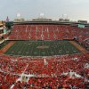 A record crowd of 59,061 is shown in this photograph taken with a fisheye lens during a college football game between the Oklahoma State University Cowboys (OSU) and the Lamar University Cardinals at Boone Pickens Stadium in Stillwater, Okla., Saturday, Sept. 14, 2013. Photo by Nate Billings, The Oklahoman