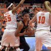 Photo - Maryland's Alyssa Thomas drives between Syracuse's Bria Day (55) and Isabella Slim(10) during the first half of an NCAA women's college basketball game in Syracuse, N.Y., Sunday, Feb. 2, 2014. (AP Photo/Kevin Rivoli)