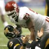 Chase Daniel of Missouri looks up after being hit by OU\'s Gerald McCoy during the first half of the Big 12 Championship college football game between the University of Oklahoma Sooners (OU) and the University of Missouri Tigers (MU) at the Alamodome on Saturday, Dec. 1, 2007, in San Antonio, Tx. By Bryan Terry, The Oklahoman