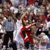 Danielle Robinson guards Deseree\' Byrd in the first half as the University of Oklahoma plays Louisville at the 2009 NCAA women\'s basketball tournament Final Four in the Scottrade Center in Saint Louis, Missouri on Sunday, April 5, 2009. Photo by Steve Sisney, The Oklahoman