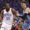 Oklahoma City\'s Kevin Durant (35) goes past Memphis\' Mike Miller (13) during Game 7 in the first round of the NBA playoffs between the Oklahoma City Thunder and the Memphis Grizzlies at Chesapeake Energy Arena in Oklahoma City, Saturday, May 3, 2014. Photo by Nate Billings, The Oklahoman