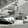 Wrecked and abandoned vehicles litter Hwy 70 near the Angus Barn in Raleigh, N.C., Thursday Feb. 13, 2014. While the core of the storm that brought snow, sleet and freezing rain to the state headed north into Virginia on Thursday, the tail end of the system was expected to dump even more snow on the state. (AP Photo/The News & Observer, Chuck Liddy)