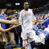 Oklahoma City\'s Kevin Durant (35) leaves the floor after Game 7 in the first round of the NBA playoffs between the Oklahoma City Thunder and the Memphis Grizzlies at Chesapeake Energy Arena in Oklahoma City, Saturday, May 3, 2014. The Thunder won 120-109. Photo by Nate Billings, The Oklahoman