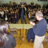 A FEMA representative, right, speaks to an audience of Sea Bright N.J. residents at a town meeting held in nearby Oceanport N.J. on Jan. 3, 2013 to provide information about the rebuilding process following Superstorm Sandy. Sea Bright\'s entire business district was wiped out (four shops have since re-opened) and 75 percent of residents are still homeless. Yet Sea Bright is determined to rebuild as a debate rages on whether to restore shore communities to their pre-storm condition, or buy out properties in flood-prone areas and depopulate them. (AP Photo/Wayne Parry)