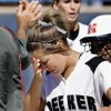 Meeker senior Kelsha Orso reacts to her team\'s 6-3 loss to Washington after end of game exchange between the two teams in Class 3A state high school fast-pitch softball tournament at ASA Hall of Fame Stadium, Thursday, Oct. 9, 2008. BY JIM BECKEL, THE OKLAHOMAN