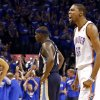 Oklahoma City\'s Kevin Durant (35) celebrates a Memphis turnover in front of Memphis\' Zach Randolph (50) in the final seconds of Game 1 in the second round of the NBA playoffs between the Oklahoma City Thunder and the Memphis Grizzlies at Chesapeake Energy Arena in Oklahoma City, Sunday, May 5, 2013. Photo by Sarah Phipps, The Oklahoman