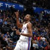 Oklahoma City\'s Kevin Durant (35) reacts to a play during the NBA basketball game between the Oklahoma City Thunder and the Portland Trail Blazers at the Chesapeake Energy Arena in Oklahoma City, Sunday, March, 24, 2013. Photo by Sarah Phipps, The Oklahoman