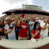 Fans shout at the end of the national anthem before the college football game between the University of Oklahoma Sooners (OU) and Air Force (AF) at the Gaylord Family-Oklahoma Memorial Stadium on Saturday, Sept. 18, 2010, in Norman, Okla. Photo by Bryan Terry, The Oklahoman