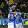 Brazil\'s Oscar (19) celebrates with team mates Hulk, Marcelo (on top) and Kaká after Oscar goal, the first goal of the game, during the international friendly soccer match at Swedbank Stadium in Malmo, Sweden, Thursday Oct. 11, 2012. (AP photo / Scanpix Sweden / Bjorn Lindgren) SWEDEN OUT
