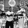 Abner 89er, Sam Burfict, Ferguson (Fergie) Jenkins and Stanley Hupfeld, from left, admire a bat and ball used by the Oklahoma City 89ers. Ferguson Jenkins is a former major league baseball player (Chicago Cubs) and was the Oklahoma City 89ers pitching coach in 1989. Jenkins was inducted into the Oklahoma Sports Hall of Fame on March 20, 2012. Staff photo by Jim Beckel, 8-6-89.
