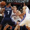 Oklahoma City\'s Nick Collison (4) and Kevin Martin (23) defend Charlotte\'s Ramon Sessions (7) during an NBA basketball game between the Oklahoma City Thunder and Charlotte Bobcats at Chesapeake Energy Arena in Oklahoma City, Monday, Nov. 26, 2012. Photo by Nate Billings , The Oklahoman