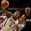 Oklahoma\'s Steven Pledger (2) tries to control the ball next to Ohio\'s Walter Offutt (3) during an NCAA college basketball game between the University of Oklahoma (OU) and Ohio at the Lloyd Noble Center in Norman, Saturday, Dec. 29, 2012. Oklahoma won 74-63. Photo by Bryan Terry, The Oklahoman