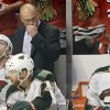 Photo - Minnesota Wild head coach Mike Yeo reacts as he watches his team during the second period of Game 5 of an NHL hockey Stanley Cup first-round playoff series against the Chicago Blackhawks in Chicago, Thursday, May 9, 2013. (AP Photo/Nam Y. Huh)