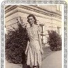 Luegene Merritt wears the blue floral dress she made and won first place with at the state fair in the 1930s. Merritt learned to sew as a young member of the Home Demonstration Club. Photo Provided Photo Provided - Photo Provided