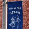 A banner proclaims the Czech Festival Saturday in Yukon. Photo by Hugh Scott, for the Oklahoman