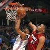 Oklahoma City\'s Russell Westbrook (0) shoots as Miami\'s Jamaal Magloire (21) defends him during the NBA game between the Oklahoma City Thunder and the Miami Heat Sunday Jan. 18, 2009, at the Ford Center in Oklahoma City. PHOTO BY SARAH PHIPPS, THE OKLAHOMAN