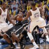 Oklahoma City\'s Kevin Durant (35) collides with Brooklyn Nets\' Gerald Wallace (45) during the NBA basketball game between the Oklahoma City Thunder and the Brooklyn Nets at the Chesapeake Energy Arena on Wednesday, Jan. 2, 2013, in Oklahoma City, Okla. Photo by Chris Landsberger, The Oklahoman