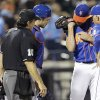 New York Mets manager Terry Collins, right, and home plate umpire Phil Cuzzi (10) look at the arm of starting pitcher Jonathon Niese after he was hurt on a play during the seventh inning of a baseball game against the Chicago Cubs, Saturday, Aug. 16, 2014, in New York. (AP Photo/Frank Franklin II)