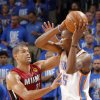 Miami\'s Shane Battier (31) defends on Oklahoma City\'s Kevin Durant (35) during Game 1 of the NBA Finals between the Oklahoma City Thunder and the Miami Heat at Chesapeake Energy Arena in Oklahoma City, Tuesday, June 12, 2012. Photo by Chris Landsberger, The Oklahoman