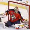 Photo - Florida Panthers goalie Dan Ellis (39) stops the puck during the first period of an NHL hockey game in Sunrise, Fla., on Tuesday, April 8, 2014. (AP Photo/Terry Renna)