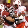 Oklahoma\'s Auston English (33) tries to stop Nebraska\'s Marlon Lucky (5) during the first half of the college football game between the University of Oklahoma Sooners (OU) and the University of Nebraska Huskers (NU) at the Gaylord Family -- Oklahoma Memorial Stadium, on Saturday, Nov. 1, 2008, in Norman, Okla. BY NATE BILLINGS, THE OKLAHOMAN ORG XMIT: KOD