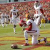 Oklahoma\'s Sterling Shepard (3) reacts near Lacoltan Bester (81) and Justin Brown (19) after scoring a touchdown in the second quarter during a college football game between the University of Oklahoma (OU) and Iowa State University (ISU) at Jack Trice Stadium in Ames, Iowa, Saturday, Nov. 3, 2012. Photo by Nate Billings, The Oklahoman