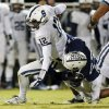 Casady\'s Timothy Giddings (67) sacks Foster Sawyer (12) of All Saints during a high school football game between Casady and Fort Worth All Saints Episcopal at Casady School in Oklahoma City, Friday, Oct. 18, 2013. Photo by Nate Billings, The Oklahoman