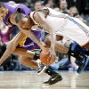 Oklahoma City\'s Kevin Durant fights with Trevor Ariza of the Lakers for the ball during the NBA basketball game between the Los Angeles Lakers and the Oklahoma City Thunder at the Ford Center,Tuesday, Feb. 24, 2009. The Thunder lost 107-93. PHOTO BY BRYAN TERRY, THE OKLAHOMAN