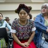 Elena de Paz, an Ixil Indian woman, center, attends the pre-trial hearing for Guatemala\'s former dictator Efrain Rios Montt (1982-1983) in a courtroom in Guatemala City, Wednesday, Jan. 23, 2013. A judge in Guatemala has begun pre-trial hearings in a genocide case against former dictator Efrain Rios Montt, who is accused of overseeing hundreds of killings when he ruled Guatemala from 1982 to 1983, at the height of the country\'s 36-year civil war. The war ended in peace accords in 1996, after 200,000 deaths. Elena de Paz is from the area where the alleged genocide took place. (AP Photo/Moises Castillo)