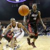 Oklahoma City\'s Russell Westbrook and Miami\'s Udonis Haslem go for the ball during an NBA preseason game between the Oklahoma City Thunder and the Miami Heat at the BOK Center in Tulsa, Okla., Wednesday, October 14, 2009. Photo by Bryan Terry, The Oklahoman