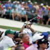 Bubba Watson tees off on the third hole during the fourth round of the Masters golf tournament Sunday, April 13, 2014, in Augusta, Ga. (AP Photo/Matt Slocum)