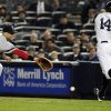 New York Yankees\' Curtis Granderson (14) beats the throw to first base as Boston Red Sox first baseman James Loney tries to catch the ball during the second inning of a baseball game, Tuesday, Oct. 2, 2012, in New York. (AP Photo/Frank Franklin II)