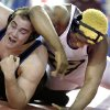 Guthrie\'s Landry Chappell wrestles Chickasha\'s Jocoby Brown during the state wrestling championships at the State Fair Arena in Oklahoma City, Saturday, Feb. 25, 2012. Photo by Sarah Phipps, The Oklahoman