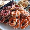THANKSGIVING MORNING....Doughnuts were decorated with red and orange icing. (Photo by Helen Ford Wallace).