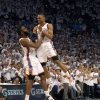 Oklahoma City\'s Russell Westbrook (0) and James Harden (13) celebrate during game five of the Western Conference semifinals between the Memphis Grizzlies and the Oklahoma City Thunder in the NBA basketball playoffs at Oklahoma City Arena in Oklahoma City, Wednesday, May 11, 2011. Photo by Bryan Terry, The Oklahoman